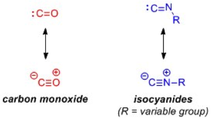 Structures of carbon monoxide and isocyanides